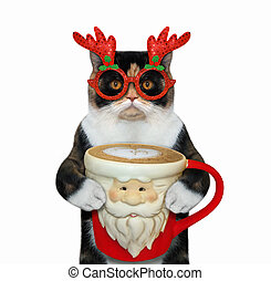 Cat in glasses drinks coffee