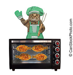 Cat in green hat cooks fish in oven 2