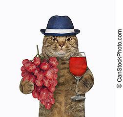 Cat in hat with grape wine 2