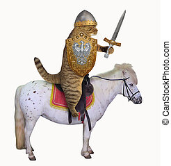 Cat in knight armor on a horse