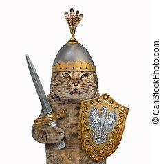 Cat in knight armor