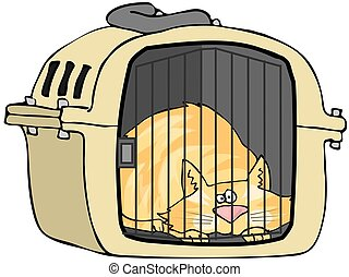 Cat In Pet Carrier - This illustration depicts a cat laying...