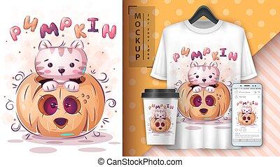 Cat in pumpkin - poster and merchandising.
