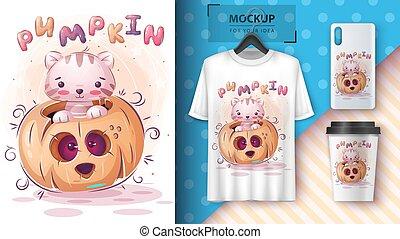 Cat in pumpkin poster and merchandising.