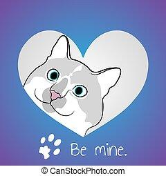 Cat in purple heart.