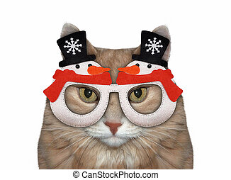 Cat in red Christmas glasses 2
