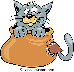 Cat in sack - Cartoon illustration of Cat in sack