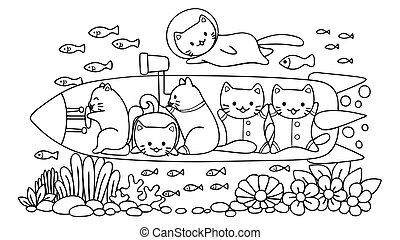 Hand drawn cute cats surveying under water world in submarine, for design element and coloring book page for kids. Vector illustration