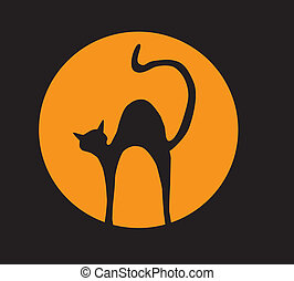 cat in the moon light - vector cat in the orange moon light