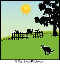cat in the nature vector illustration