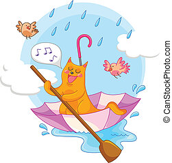 cat in the rain - cat sailing in an umbrella and singing in...