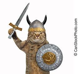 Cat in viking armor 2