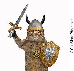 Cat in viking armor 3