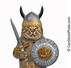 Cat in viking armor