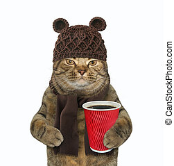 Cat in woolly hat with coffee 2