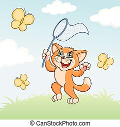 Cat is catching butterflies on meadow - Illustration of the...