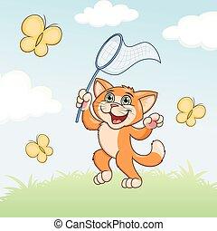 Cat is catching butterflies on meadow