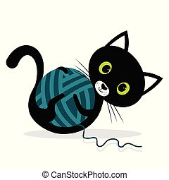 cat is playing with wool ball
