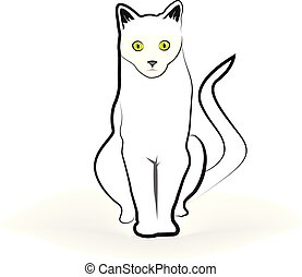 Cat isolated line art vector design illustration