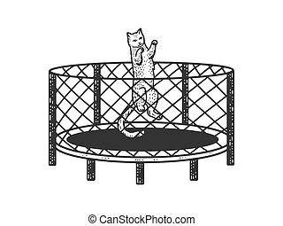 cat jumps on a trampoline sketch engraving vector illustration. T-shirt apparel print design. Scratch board imitation. Black and white hand drawn image.