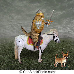 Cat knight on a horse with a sword