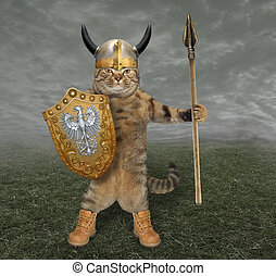 Cat knight with a spear 2