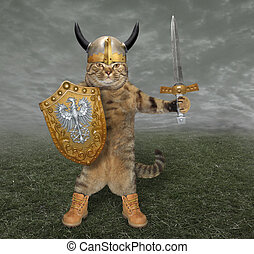 Cat knight with a sword 2