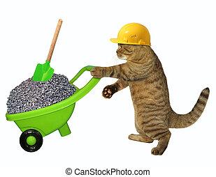 Cat laborer with wheelbarrow of gravel