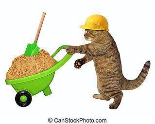 Cat laborer with wheelbarrow of sand