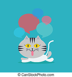 Cat lay down speech with many bubble quote