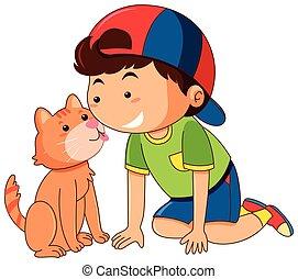 Cat licking boy face on white background illustration