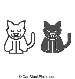 Cat line and solid icon. Creepy demon with tail, witch pet. Halloween party vector design concept, outline style pictogram on white background.
