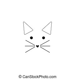 Cat line icon on white background. vector illustration.