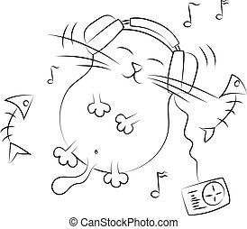 Cat listening to music. illustratio