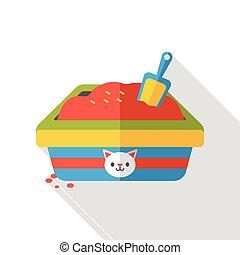cat litter box flat icon