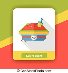 cat litter box flat icon