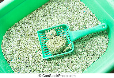 Cat litter box for toilet of cat with green scoop