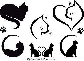 Cat logo design, vector set - Cat logo designs with heart,...