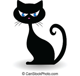 Cat logo vector - Black cat logo vector