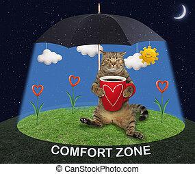 Cat lying under umbrella 2
