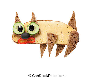 Cat made of black bread and cheese on white background