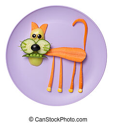 Cat made of food on pink plate