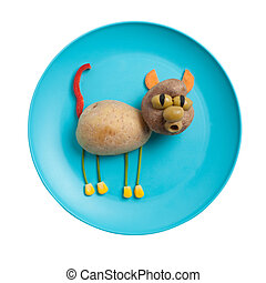 Cat made of potatoes on blue plate