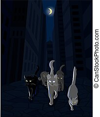 Cat mafia gang walking along the dark street, vector...