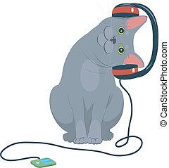 Cartoon cat music headphones. Cute cartoon kitty cat ...
