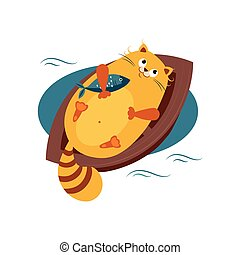 Cat on a Boat Hugging Fish. Vector Illustration - Cat on a...