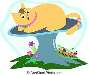 Cat on a Mushroom with Caterpillar