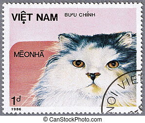 Cat on a postage stamp