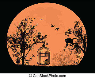 Cat on a tree and bird in a cage