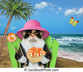 Cat on beach chair eats sushi 2